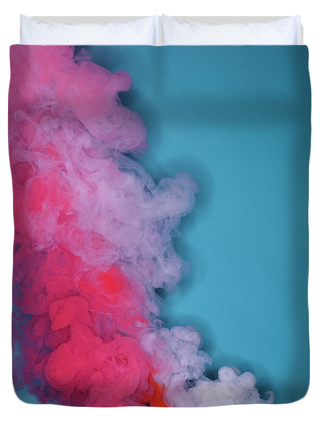 Motion Duvet Cover featuring the photograph Colored Smoke by Henrik Sorensen