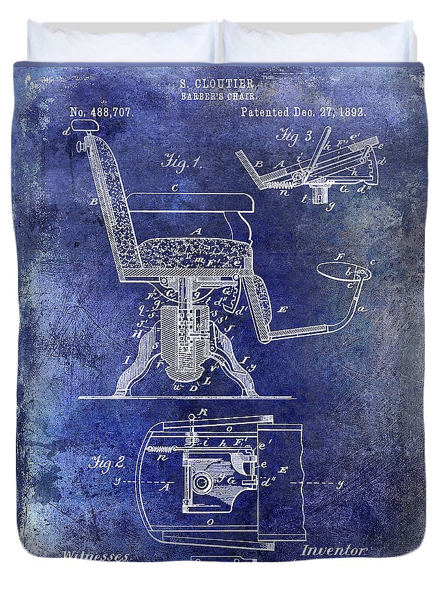 Barber Chair Patent Drawing Blueprint Duvet Cover featuring the photograph 1892 Barbers Chair Patent Blue by Jon Neidert