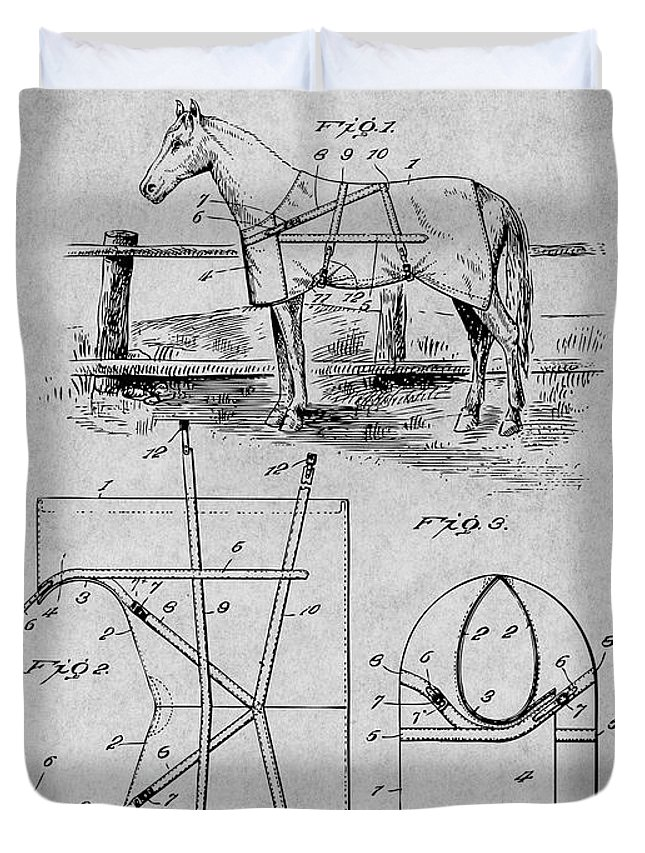 Art & Collectibles Duvet Cover featuring the drawing 1905 Horse Blanket Patent Print Gray by Greg Edwards
