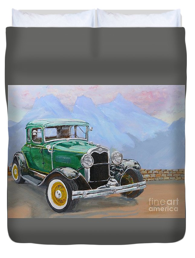 Painting Duvet Cover featuring the painting 1932 Ford Model A by Mohamed Hirji