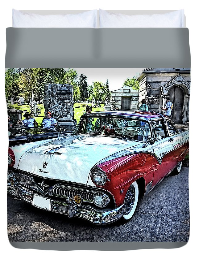 1955 Ford Fairlane Show Vintage Auto Automobile Duvet Cover featuring the drawing 1955 Ford Fairlane At Show by Jonathan Broyles
