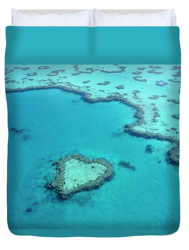 Seascape Duvet Cover featuring the photograph Aerial Of Heart-shaped Reef At Hardy by Holger Leue