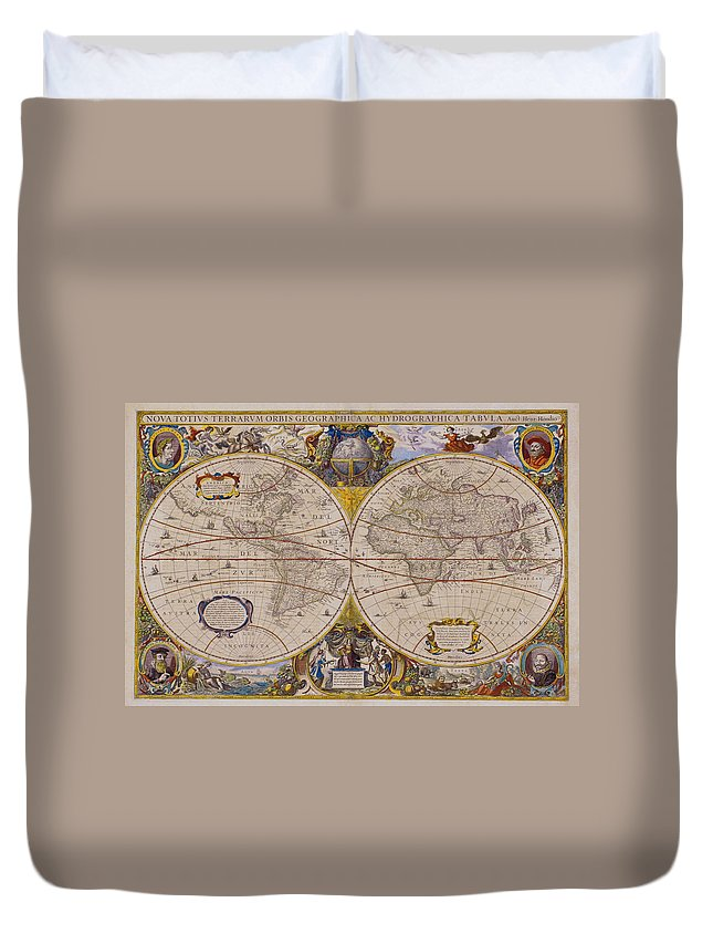 Latitude Duvet Cover featuring the digital art Antique Map Of The World by Comstock