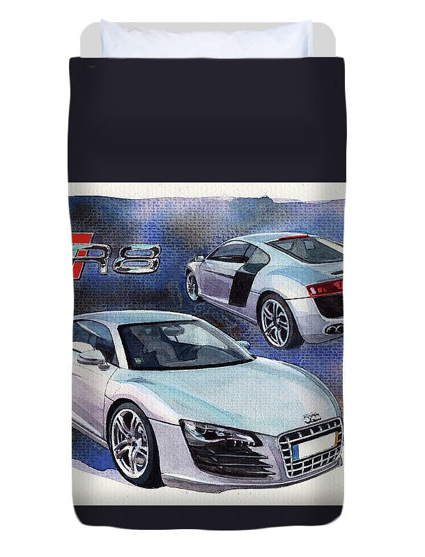 Audi Duvet Cover featuring the painting Audi R8 by Yoshiharu Miyakawa