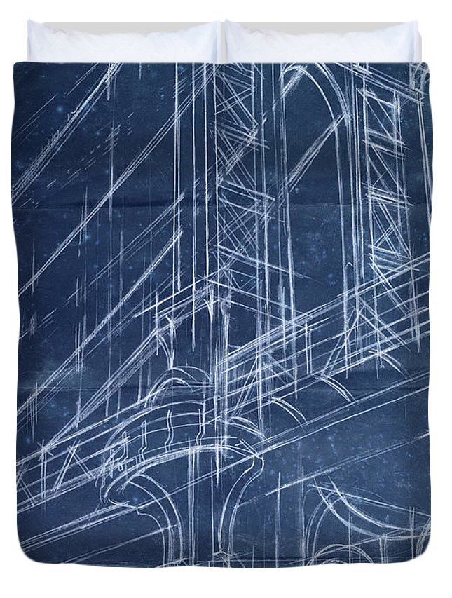 Architecture Duvet Cover featuring the painting Bridge Blueprint I by Ethan Harper
