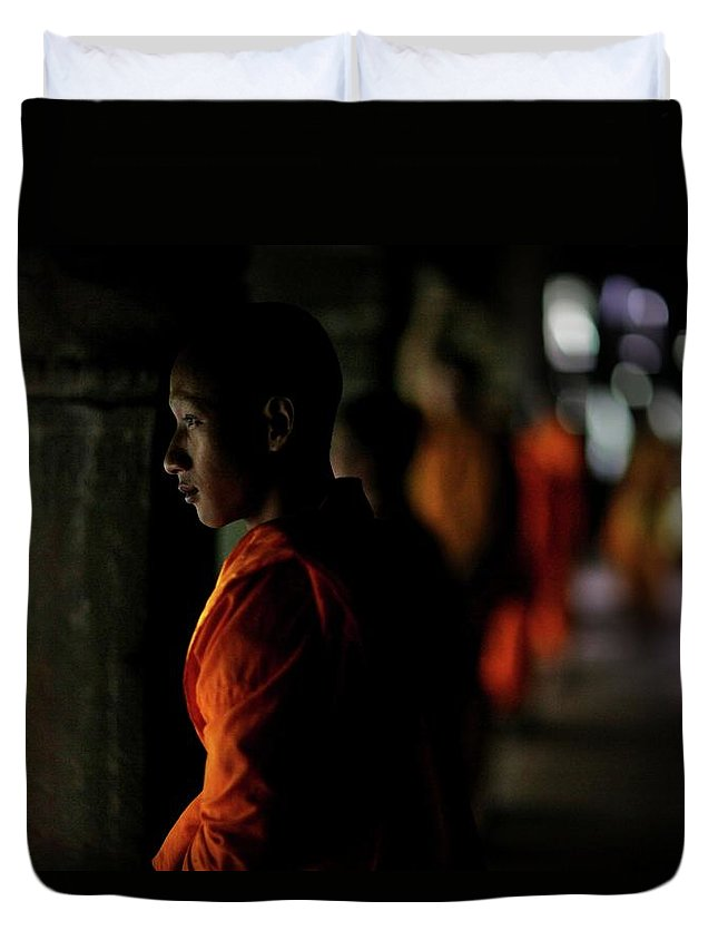 People Duvet Cover featuring the photograph Buddhist Monks At Angkor Wat Temple by Timothy Allen