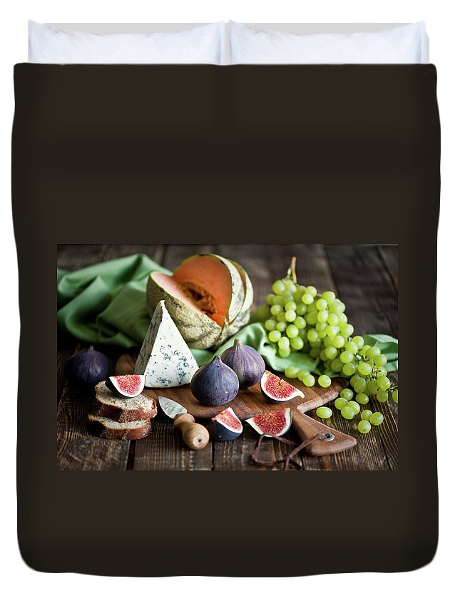 Large Group Of Objects Duvet Cover featuring the photograph Cheese Board by Verdina Anna