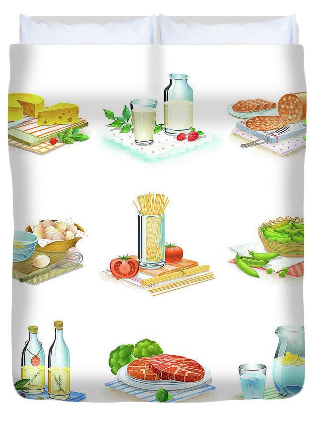Milk Duvet Cover featuring the digital art Close-up Of Food Stuff by Eastnine Inc.