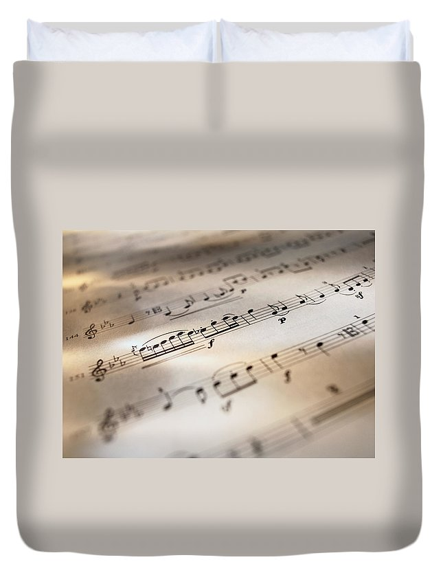 Sheet Music Duvet Cover featuring the photograph Detail Of Sheet Music by Ryan Mcvay
