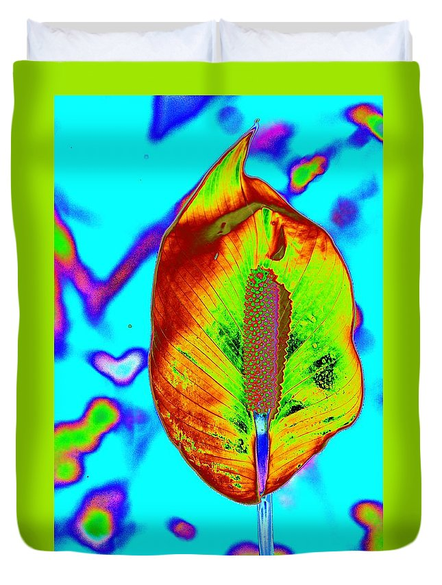 Flower Duvet Cover featuring the photograph Fired Up Anthurium by Richard Henne