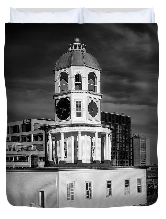 Architecture Duvet Cover featuring the digital art Halifax Town Clock 2017 Black And White by Ken Morris