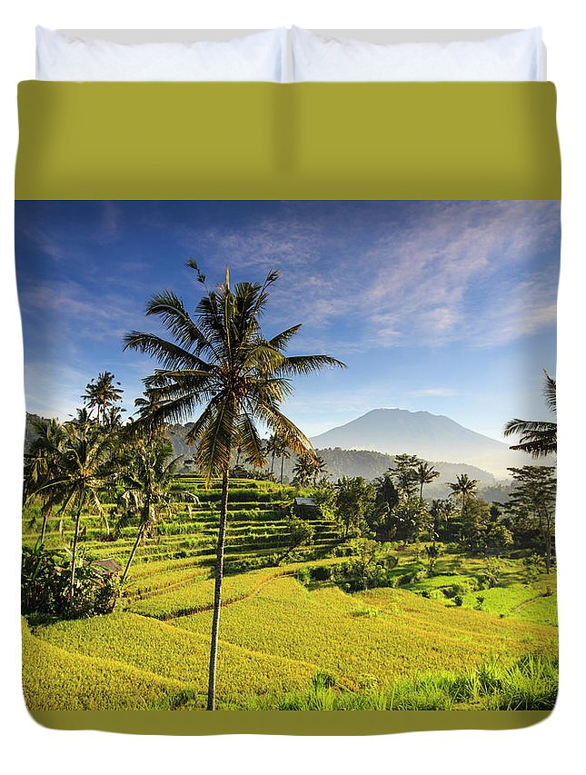 Tranquility Duvet Cover featuring the photograph Indonesia, Bali, Rice Fields And Agung by Michele Falzone