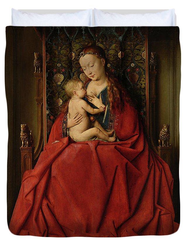Jan Van Eyck Duvet Cover featuring the painting Lucca Madonna by Jan van Eyck