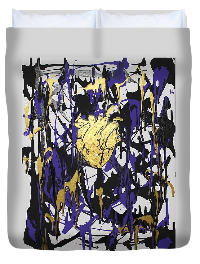 Love Duvet Cover featuring the painting Madness Behind the Beauty by Sonye Locksmith