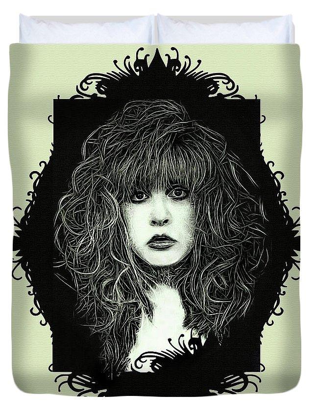 Stevie Nicks Duvet Cover featuring the digital art Stevie Nicks by Mal Bray