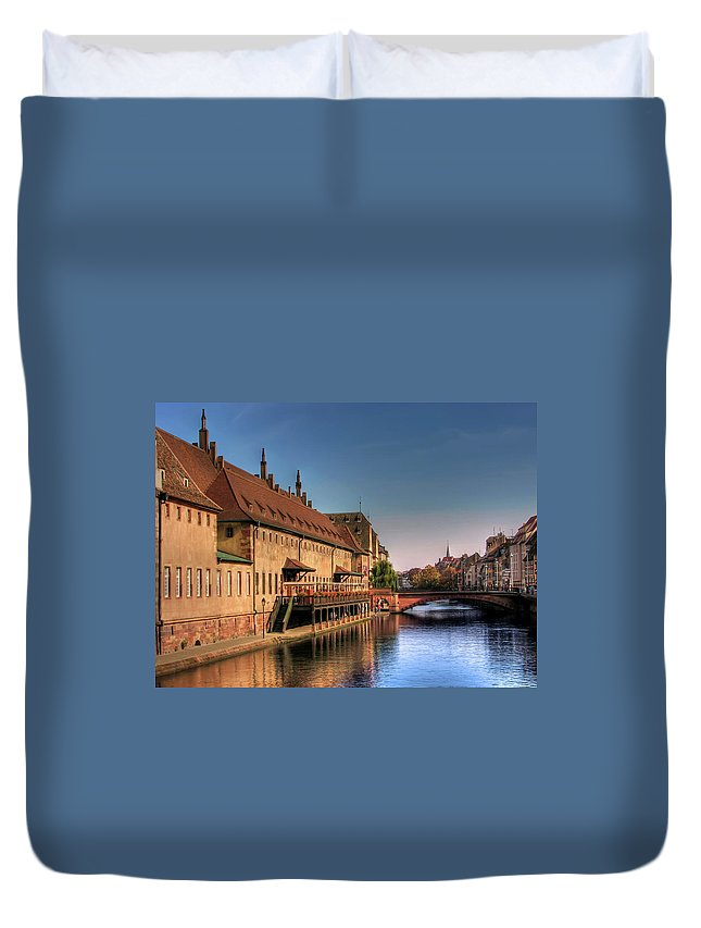 Clear Sky Duvet Cover featuring the photograph Strasbourg River by Michael Kitromilides