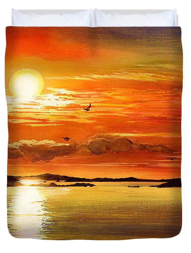 Sunset Duvet Cover featuring the painting Sunset Lake by Hailey E Herrera