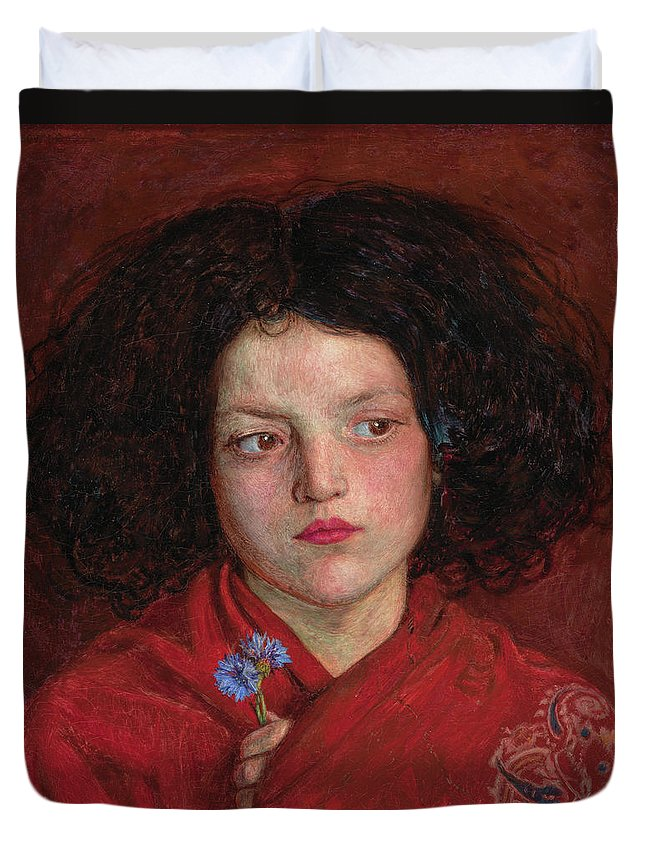 British Duvet Cover featuring the painting The Irish Girl by Ford Madox Brown