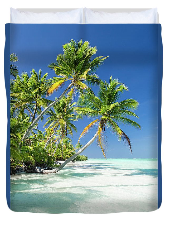 Scenics Duvet Cover featuring the photograph Tropical Beach Of An Atoll Lagoon And by Pete Atkinson