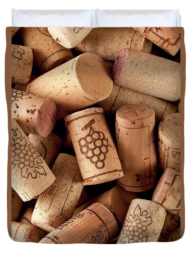 Alcohol Duvet Cover featuring the photograph Wine Corks by Malerapaso
