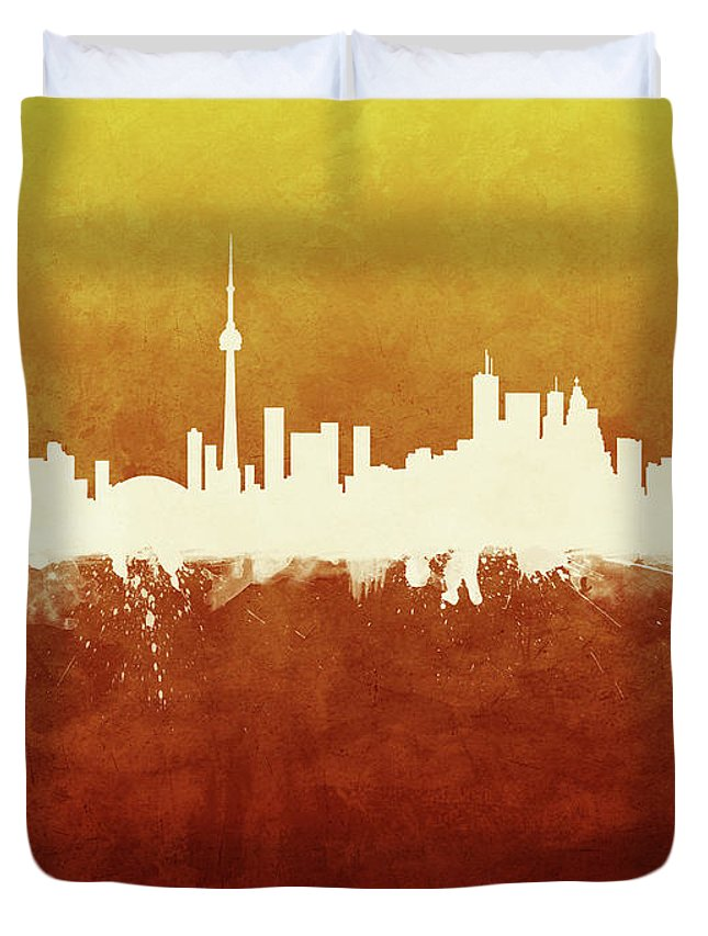 Toronto Duvet Cover featuring the digital art Toronto Canada Skyline by Michael Tompsett