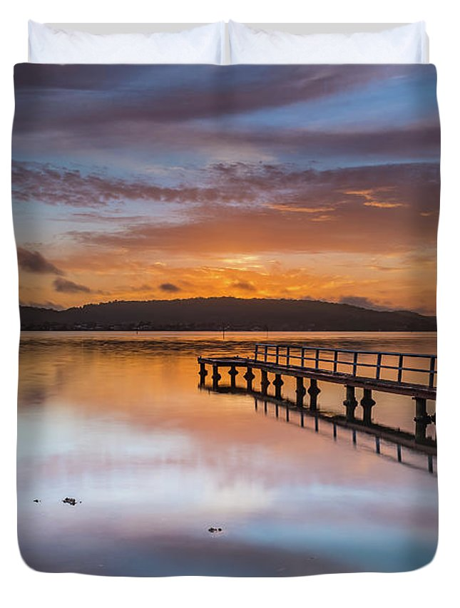 Australia Duvet Cover featuring the photograph Early Morning Clouds And Reflections On The Bay by Merrillie Redden