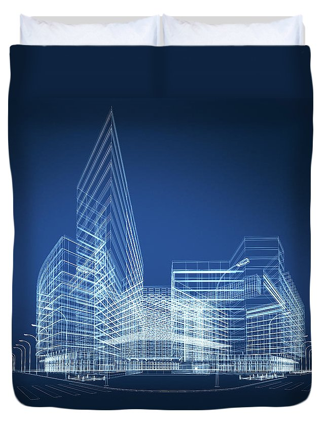 Three Dimensional Duvet Cover featuring the photograph 3d Architecture Abstract by Nadla