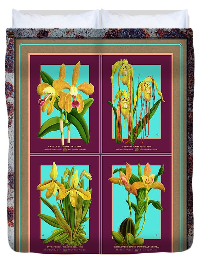 Vintage Duvet Cover featuring the painting Antique Orchids Quatro On Rusted Metal And Weathered Wood Plank by Baptiste Posters