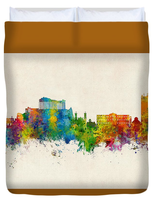 Athens Duvet Cover featuring the digital art Athens Greece Skyline by Michael Tompsett