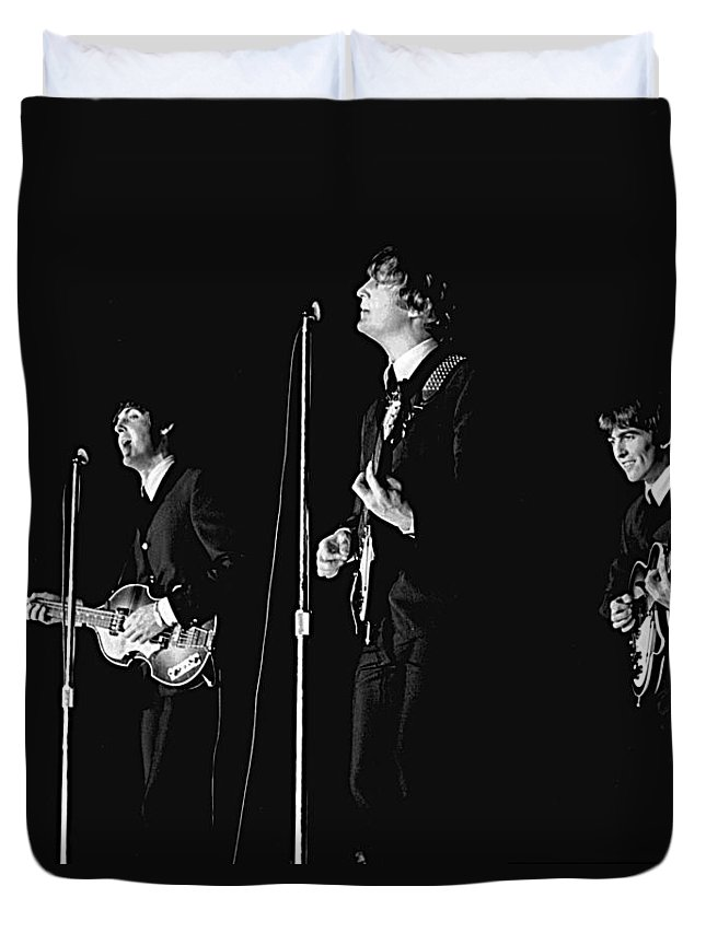 1964 Duvet Cover featuring the photograph Beatles In Concert, 1964 by Larry Mulvehill