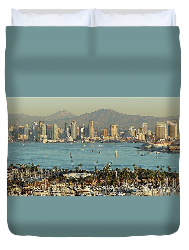Downtown District Duvet Cover featuring the photograph San Diego Skyline by S. Greg Panosian