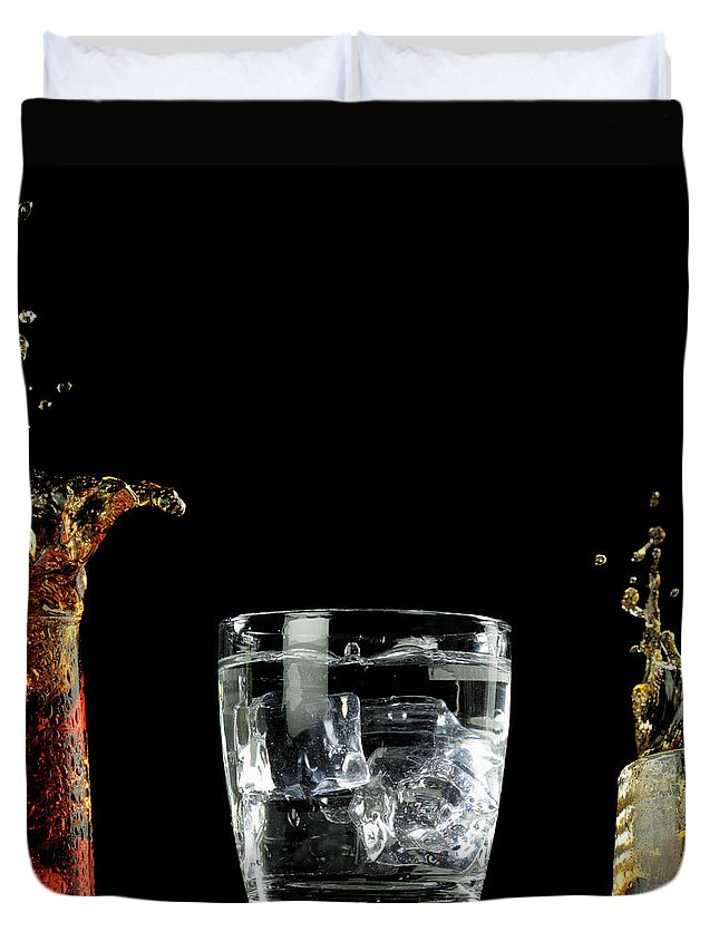 Alcohol Duvet Cover featuring the photograph Splashed Cocktails by Monica Rodriguez