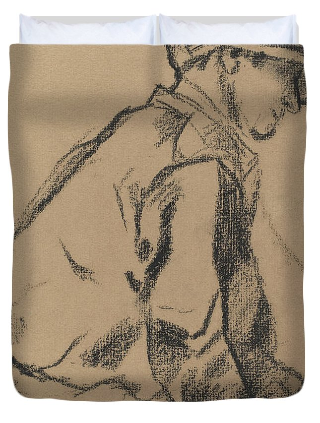 Degas Duvet Cover featuring the drawing Study Of A Jockey by Edgar Degas