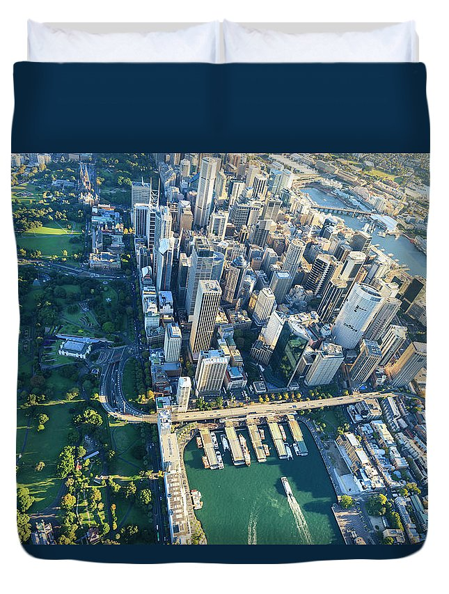 Shadow Duvet Cover featuring the photograph Sydney Downtown - Aerial View by Btrenkel