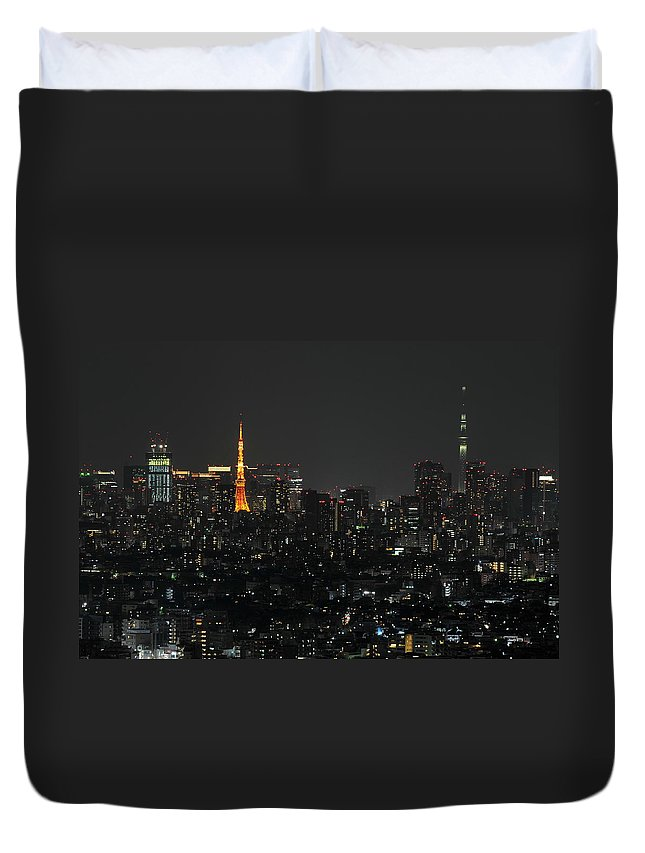 Tokyo Tower Duvet Cover featuring the photograph Tokyo Tower And Tokyo Skytree by Masakazu Ejiri