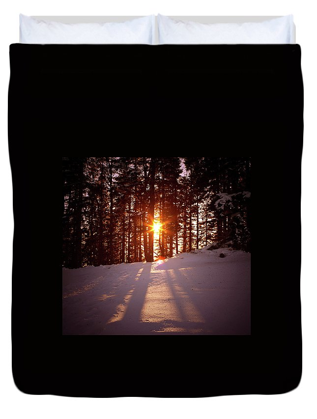Scenics Duvet Cover featuring the photograph Winter Sunset by Borchee