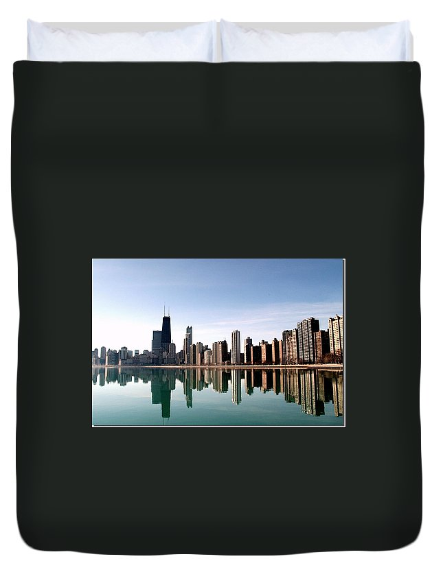 Lake Michigan Duvet Cover featuring the photograph Chicago Skyline by J.castro