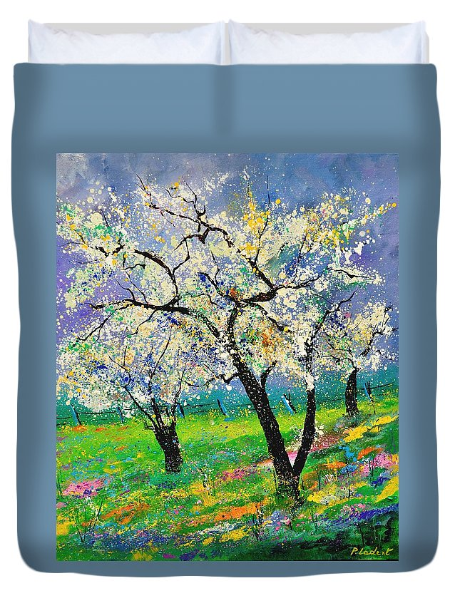Landscape Duvet Cover featuring the painting Spring by Pol Ledent