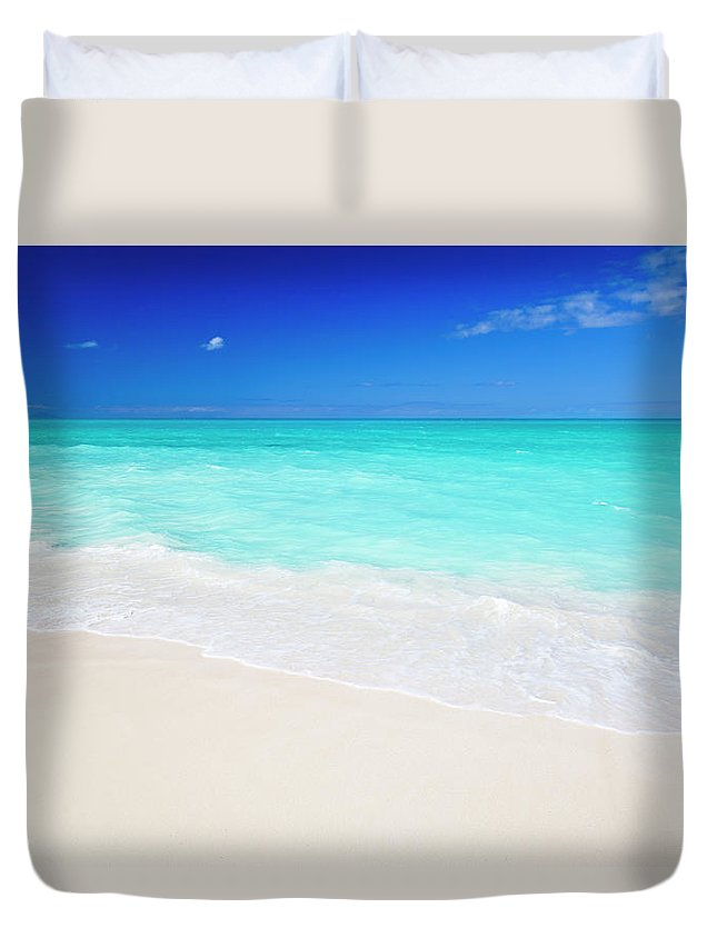 Water's Edge Duvet Cover featuring the photograph Clean White Caribbean Beach With Blue by Michaelutech