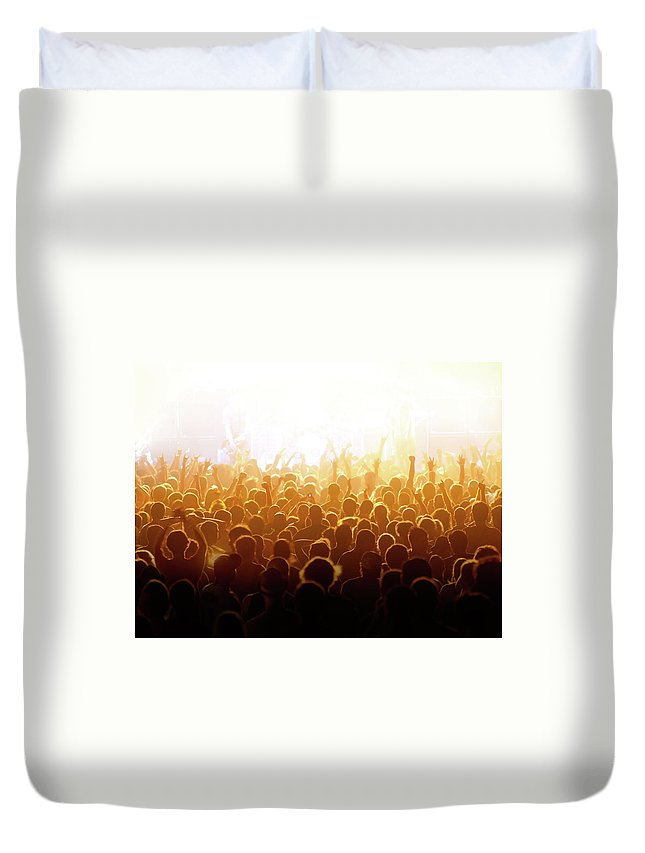 Rock Music Duvet Cover featuring the photograph Concert Crowd by Alenpopov