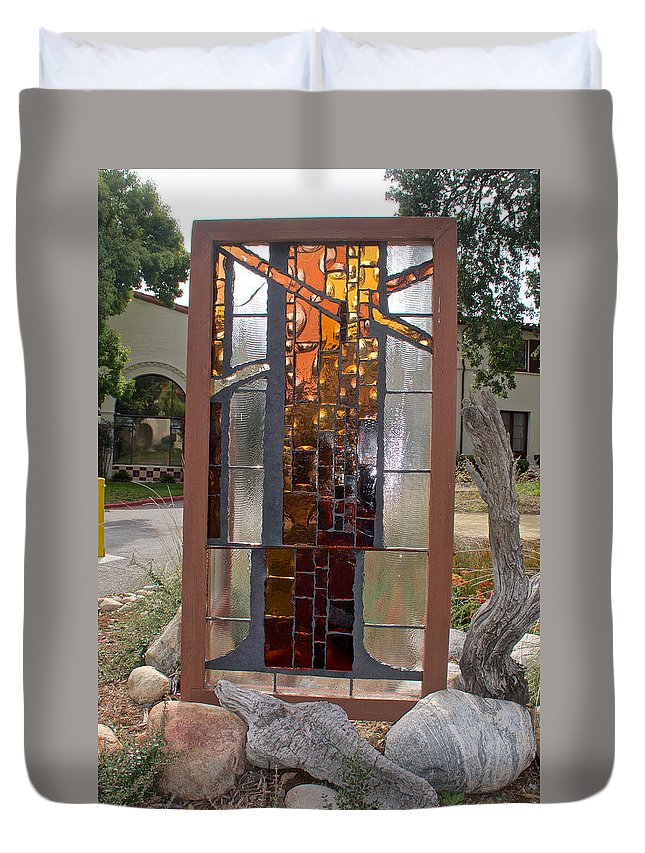 Keiko Miura Stained Glass Panel At Pilgrim Place In Claremont Duvet Cover featuring the photograph Keiko Miura Stained Glass Panel at Pilgrim Place in Claremont, California by Ruth Hager
