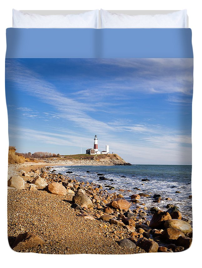 Headland Duvet Cover featuring the photograph Lighthouse At Montauk Point, Long by Alex Potemkin