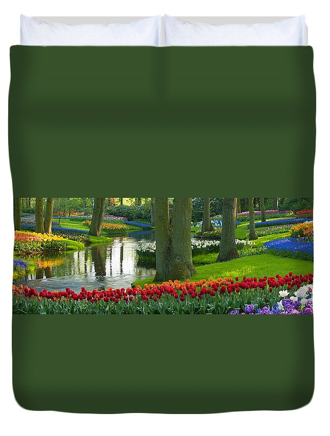 Scenics Duvet Cover featuring the photograph Spring Flowers In A Park by Jacobh