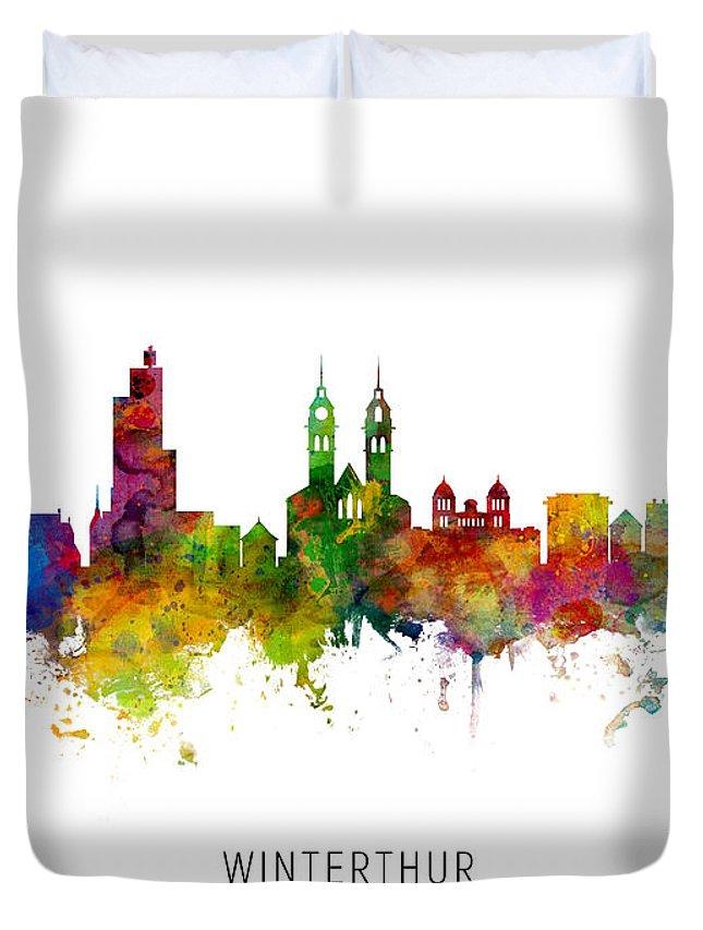 Winterthur Duvet Cover featuring the digital art Winterthur Switzerland Skyline by Michael Tompsett