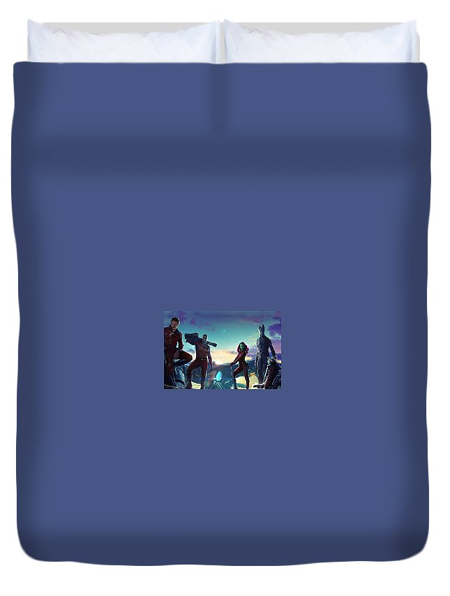 Guardians Of The Galaxy Duvet Cover featuring the digital art Guardians Of The Galaxy by Geek N Rock