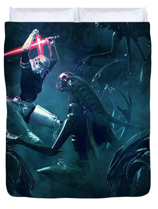 Star Wars Duvet Cover featuring the digital art 501 Vs Aliens 3 by Guillem H Pongiluppi