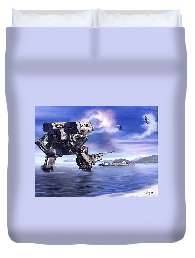 Science Fiction Duvet Cover featuring the mixed media 501st Mech Defender by Curtiss Shaffer