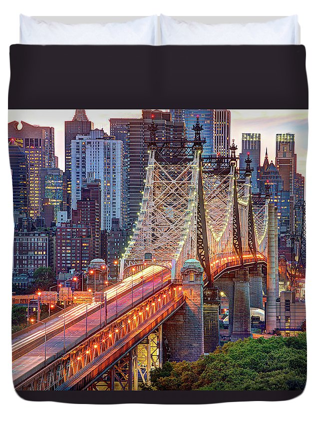 Architectural Column Duvet Cover featuring the photograph 59th Street Bridge by Tony Shi Photography