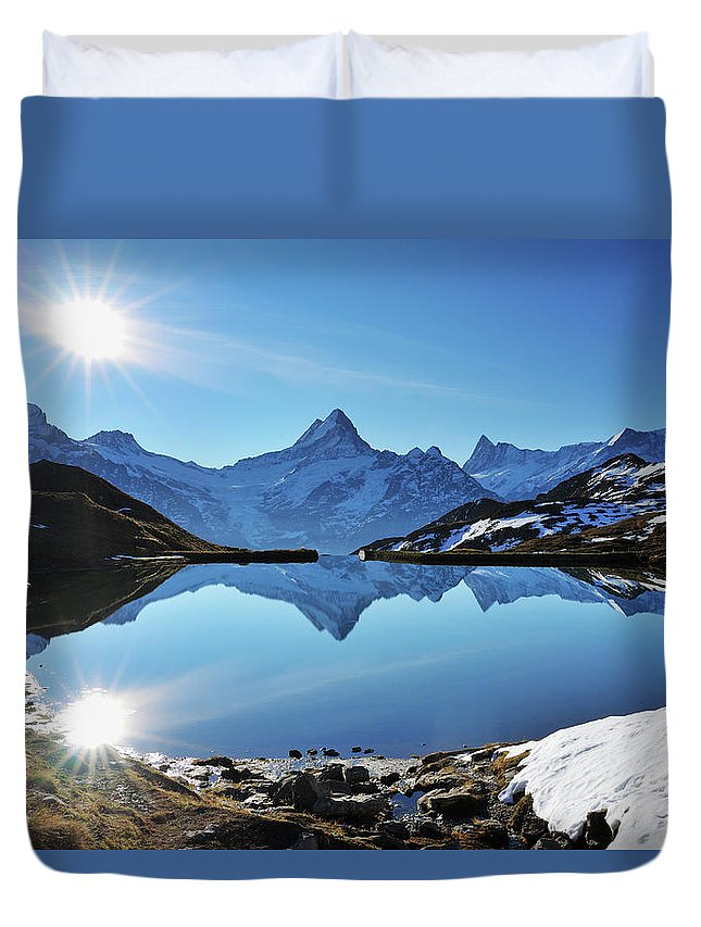 Scenics Duvet Cover featuring the photograph Lake Bachalpsee by Raimund Linke