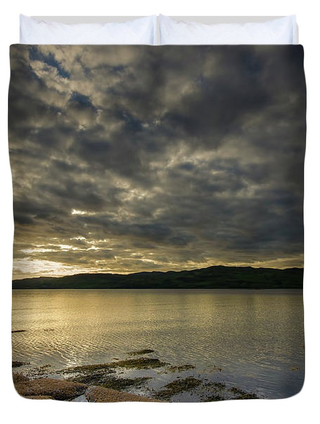 Loch Na Keal Duvet Cover featuring the mixed media Loch Na Keal by Smart Aviation